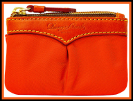Tangerine Clementine Small Dooney Coin Purse Keychain NEW!