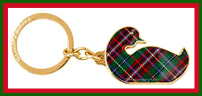 Highlands Shamrock Green & Ruby Plaid Tartan Duck Keyfob NEW!