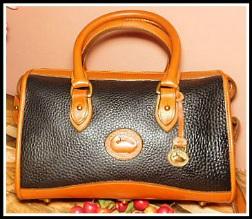 Dazzling Black Licorice Vintage Dooney Satchel Shoulder Bag