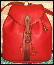 Captivating Lipstick Red Scarlet Sherpa Pack Vintage Dooney Backpack