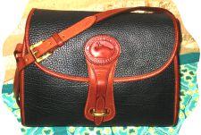 Colossal Licorice Black Vintage Dooney Essex Shoulder Bag