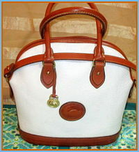 Crisp White Linen Vintage Dooney Norfolk Shoulder Bag Satchel