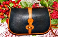Juicy Black Licorice Equestrian Vintage Dooney Bag