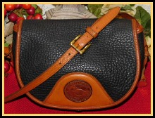 Rugged Coal Black Vintage Dooney Equestrian Style Flap Bag
