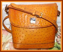 Golden Butterscotch Toast Ostrich Dooney Large Flap Shoulder Bag