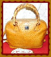 Exquisite Dooney Butterscotch Bayou Zip-Zip Satchel Shoulder Bag