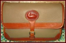 Genuine Classic Smokey Taupe Vintage Dooney Large Surrey Bag