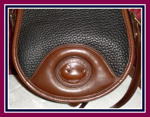 Fabulous Navy Blue & Cedar AWL Saddle Bag Dooney & Bourke