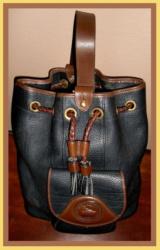 Large Black & Chocolate Drawstring Sling Bag Vintage Dooney Bourke AWL