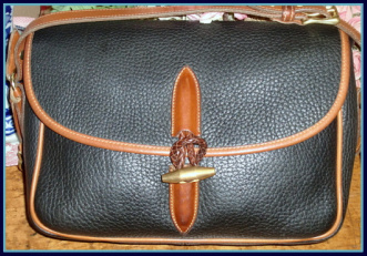 Snappy Navy Blue Loden Toggle Purse Dooney AWL