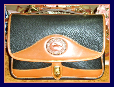 SOLD! Navy Blue Large Carrier Dooney & Bourke All Weather Leather Bag