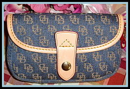 Billowy Blue Dooney & Bourke Mini Signature Flap Wristlet