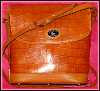 Apple Pecan Tan Dooney Alligator Exotic Leather Large Flap Bag