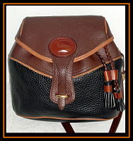 SOLD!!! Rare Dooney Tri-Colored Teton Collection All Weather Leather Shoulder Bag