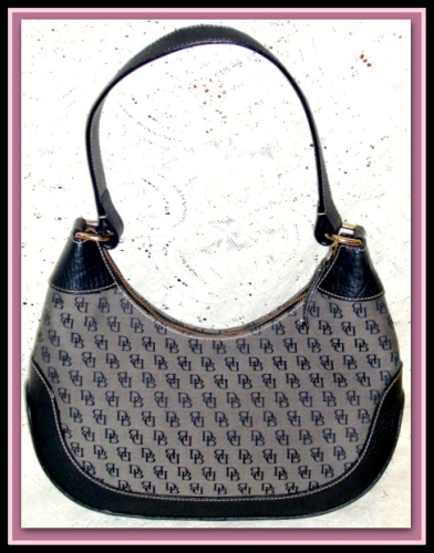 Signature Canvas & All Weather Leather Dooney and Bourke Hobo Shoulder Bag in Pristine Condition!