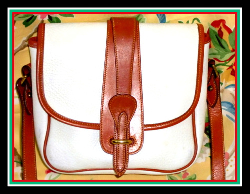 Lovely White & Tan Equestrian Binocular Dooney  Bag