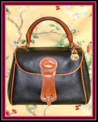 SOLD! Nice Clean Navy Blue & Tan Essex AWL Dooney Handbag