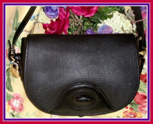 Large All Black Saddle Flap Bag Dooney & Bourke AWL Vintage