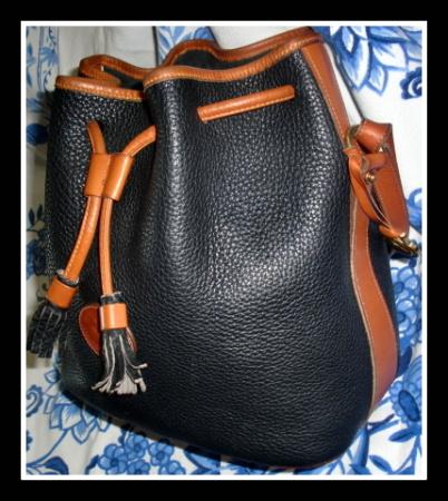 Classic Black Tan Drawstring Dooney Bag