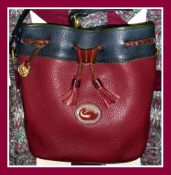 SOLD!!! Delightful Navy Ivy & Rouge Teton Drawstring Vintage Dooney Bourke
