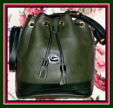 SOLD!!! Like New Ivy Green Drawstring Bag Vintage Dooney Bourke AWL