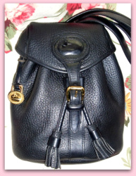 SOLD! Luscious Licorice All Black Back Pack Vintage Dooney Bourke AWL Bag