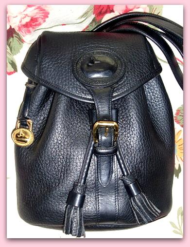 Vintage Dooney Bourke AWL Drawstring Backpack All Black
