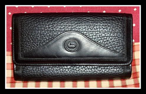 SOLD! Bold All Black Tri-Fold Wallet Dooney Bourke AWL