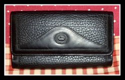 SOLD! Bold All Black Tri-Fold Wallet Dooney Bourke AWL