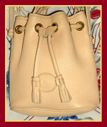 Soft Palomino Drawstring All-Weather Leather Vintage Dooney Bag!
