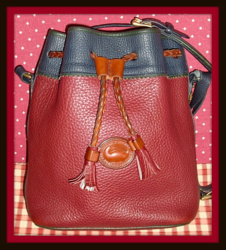 SOLD! Delightful Navy Ivy & Rouge Teton Drawstring Vintage Dooney Bourke Bag