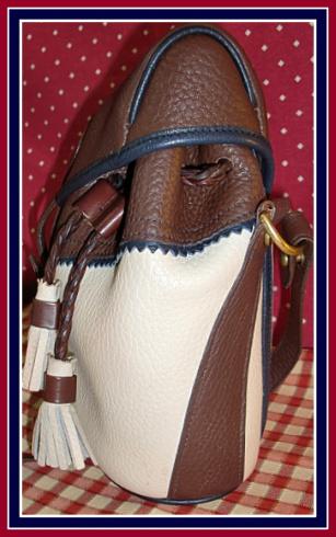 Pristine Bone Brown & Navy Teton Drawstring Saddle Bag Vintage Dooney Bourke Purse