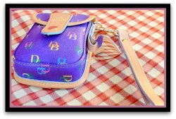 Vibrant New Purple Monogramed Wristlet Dooney Bourke