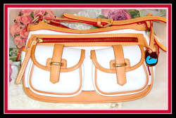 Like New Carabao Saddle Bag Pebble Grain Leather White Dooney Bourke