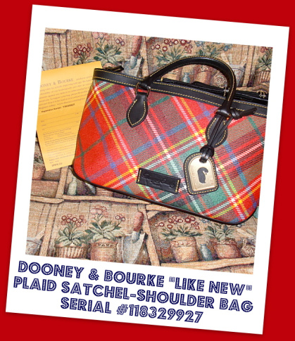 Like New Red Plaid Dooney & Bourke Satchel/Shoulder Bag