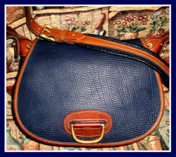 SOLD! Nice Large Navy Blue Horseshoe Bag Vintage Dooney Bourke AWL
