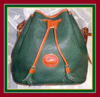 Enchanting Fir Green Drawstring Bag Vintage Dooney Bourke AWL