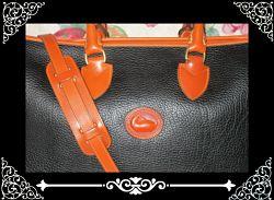 Licorice Walnut Black Equestrian Large Portfolio Brief Vintage Dooney Satchel