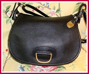 SOLD! Delicious Licorice Black Vintage Dooney Horseshoe Bag