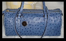 Breathtaking Blue Ostrich Dooney Leather Barrel Handbag