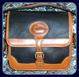Exceptional Vintage Dooney AWL Navy Blue Surrey Shoulder Bag