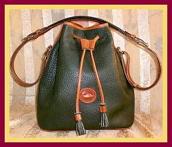 Deep Rich Ivy Green Vintage Dooney Large Drawstring Bag
