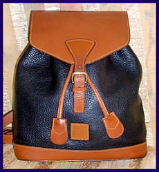 Striking Black & Tan Vintage Dooney AWL Backpack