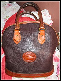 Rich Dark Expresso Brown & Tan Norfolk Vintage Dooney Bag