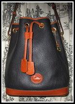Jazzy Licorice Black & Tan Vintage Dooney Drawstring Bucket Bag