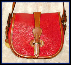Enchanting Red Cherry Explosion Marble Bag Vintage Dooney Equestrian Tack