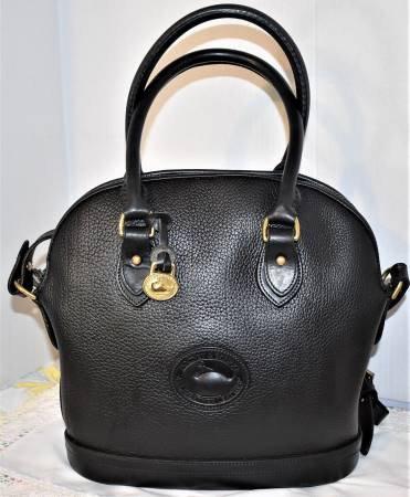 Bold Black Licorice Dooney Norfolk Shouder Bag Satchel