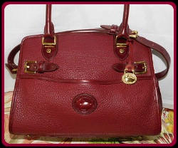 Evocative Vintage Dooney Rouge Buckle Satchel Shoulder Bag