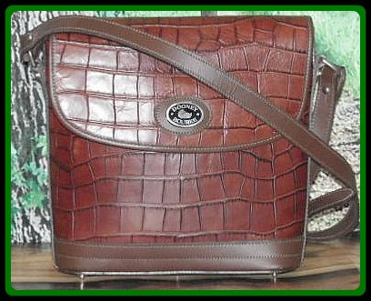 Cinnamon Toast Brown Dooney Alligator Exotic Leather Large Flap Bag