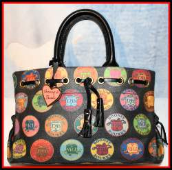 Fanciful Tutti Frutti Dooney Medallion Tassel Tote